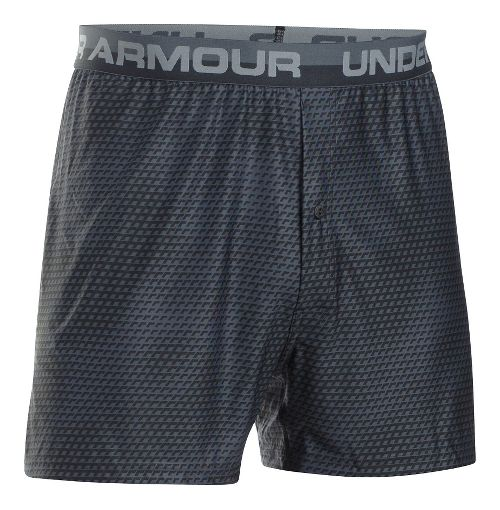 Mens Under Armour Original Printed Boxer Underwear Bottoms - Black/Steel M
