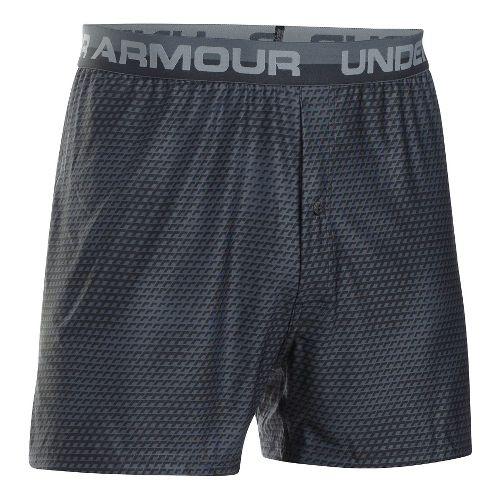 Mens Under Armour Original Printed Boxer Underwear Bottoms - Black/Steel M