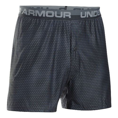 Mens Under Armour Original Printed Boxer Underwear Bottoms - Black/Steel XL