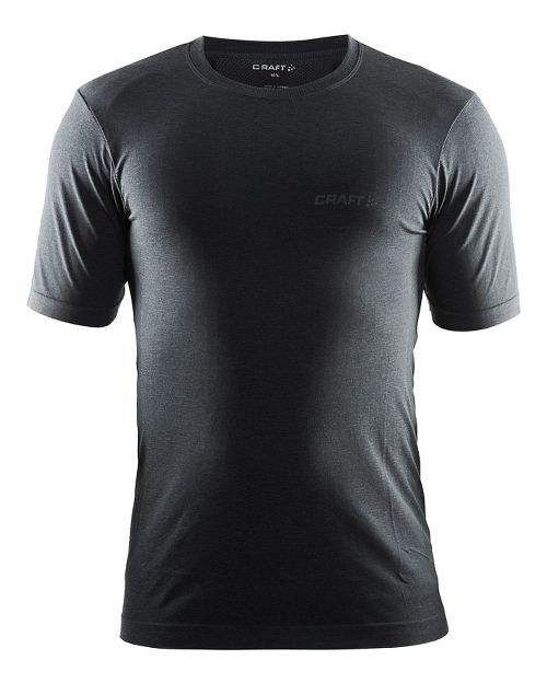 Mens Craft Seamless Touch Tee Short Sleeve Technical Tops - Black Melange XL/XXL