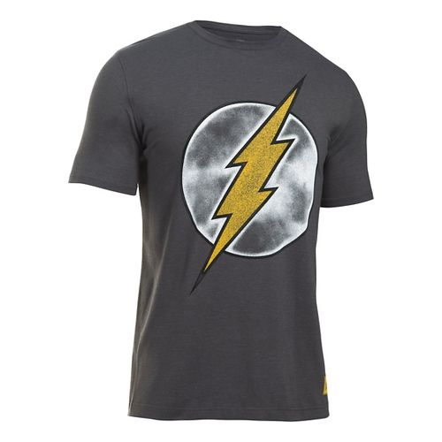 Mens Under Armour Retro Flash T Short Sleeve Technical Tops - Carbon Heather L