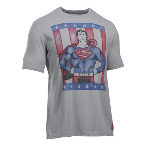 Mens Under Armour Retro Superman T Short Sleeve Technical Tops - Steel L
