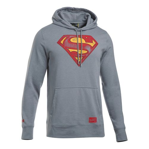 Mens Under Armour Retro Superman Triblend Hoodie & Sweatshirts Technical Tops - Steel L