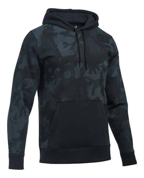 Mens Under Armour Rival Camo Printed Hoodie & Sweatshirts Technical Tops - Stealth Grey/Black XXL