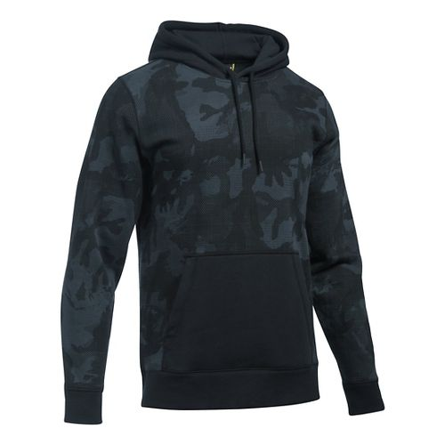 Mens Under Armour Rival Camo Printed Hoodie & Sweatshirts Technical Tops - Stealth Grey/Black S ...