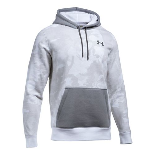 Mens Under Armour Rival Camo Printed Hoodie & Sweatshirts Technical Tops - White/Steel L