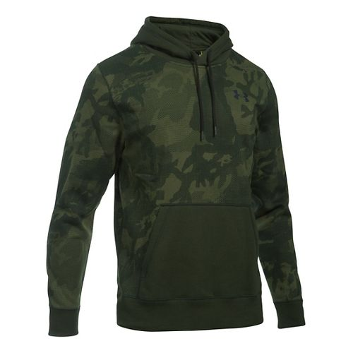Mens Under Armour Rival Camo Printed Hoodie & Sweatshirts Technical Tops - Artillery Green S ...