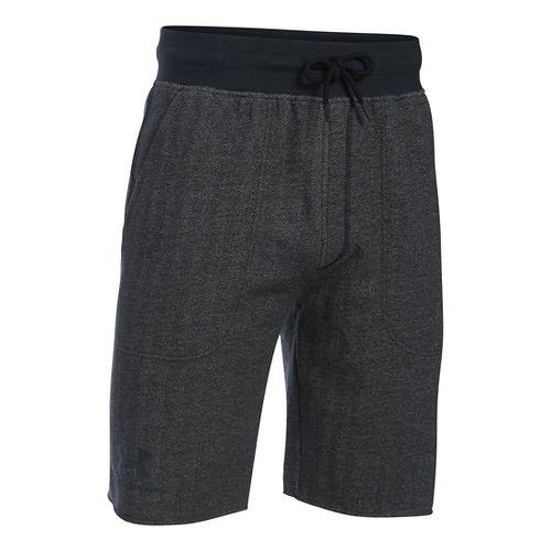 Mens Under Armour Rival Cotton Fleece Unlined Shorts - Asphalt Heather M
