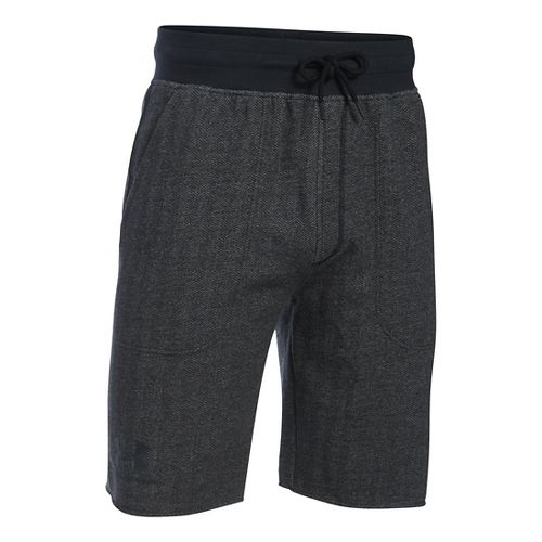 Mens Under Armour Rival Cotton Fleece Unlined Shorts - Asphalt Heather S