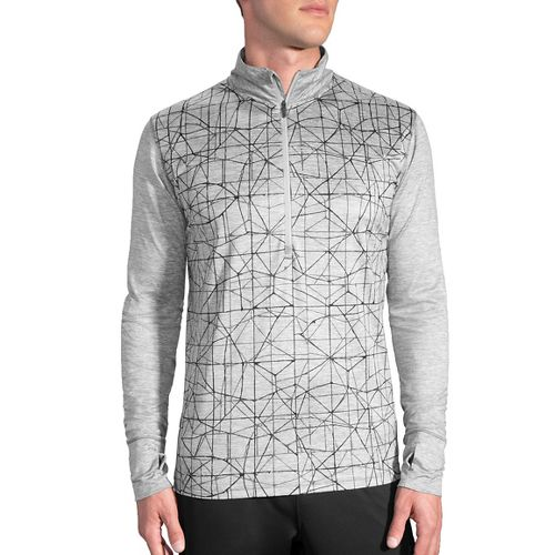 Mens Brooks Dash 1/2 Zip Long Sleeve Technical Tops - Heather Oxford L