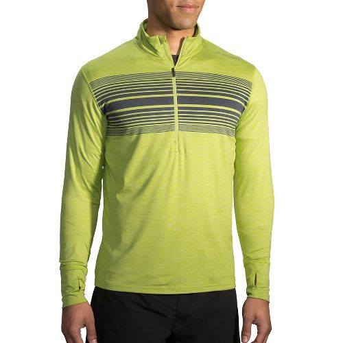 Mens Brooks Dash Printed 1/2 Zip Long Sleeve Technical Tops - Heather Grove XXL