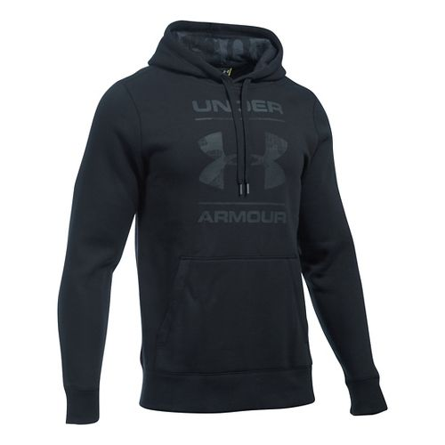 Mens Under Armour Rival Graphic Hoodie & Sweatshirts Technical Tops - Black/Stealth Grey S
