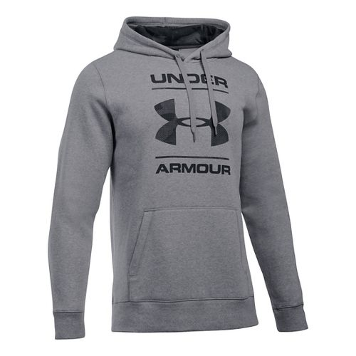 Mens Under Armour Rival Graphic Hoodie & Sweatshirts Technical Tops - Grey Heather/Grey M