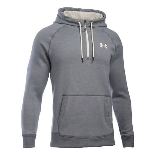 Mens Under Armour Rival Novelty Pullover Hoodie & Sweatshirts Technical Tops - Graphite/Ivory L