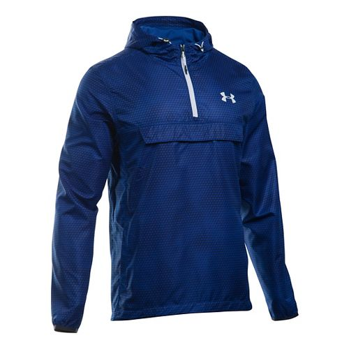 Mens Under Armour SportStyle Anorak Half-Zips & Hoodies Technical Tops - Royal/Royal S