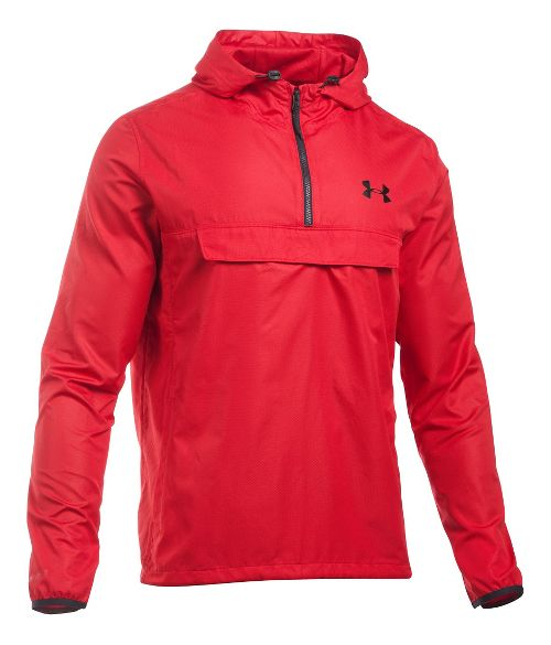 Mens Under Armour SportStyle Anorak Half-Zips & Hoodies Technical Tops - Red/Red L