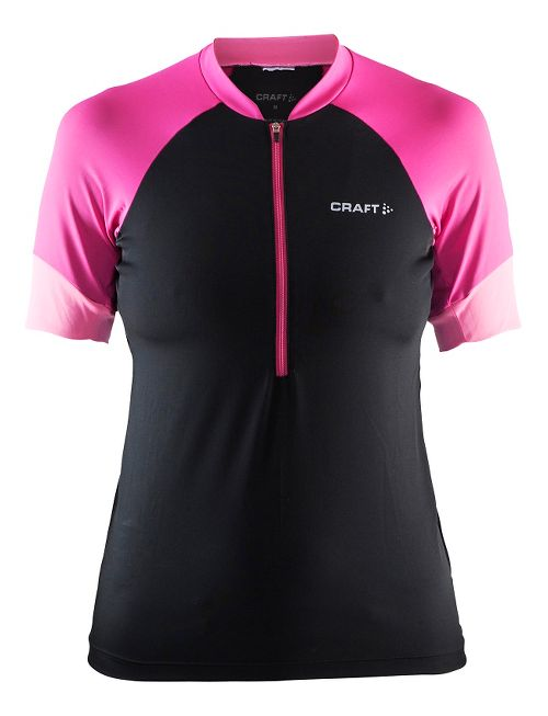Womens Craft Classic Jersey Short Sleeve Technical Tops - Black/Smoothie/Pop XS