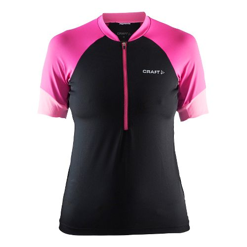 Womens Craft Classic Jersey Short Sleeve Technical Tops - Black/Smoothie/Pop L