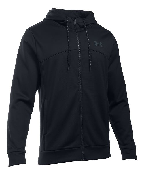 Mens Under Armour Storm Fleece Full Half-Zips & Hoodies Technical Tops - Black/Black XXL