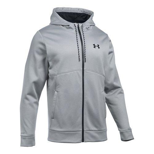 Mens Under Armour Storm Fleece Full Half-Zips & Hoodies Technical Tops - Grey Heather/Black XXL