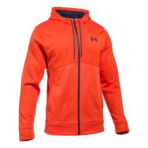 Mens Under Armour Storm Fleece Full-Zip Hoodie & Sweatshirts Technical Tops - Dark Orange/Heron ...