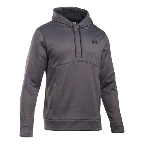 Mens Under Storm Armour Fleece Half-Zips & Hoodies Technical Tops - Carbon Heather/Black XXL