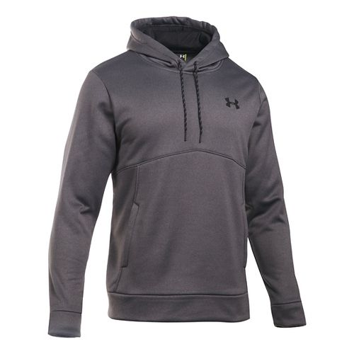 Mens Under Armour Storm Fleece Icon Hoodie & Sweatshirts Technical Tops - Carbon Heather/Black ...