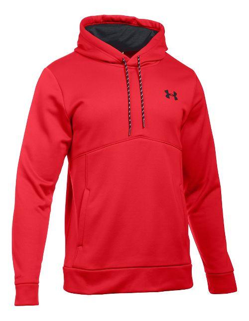 Mens Under Storm Armour Fleece Half-Zips & Hoodies Technical Tops - Red/Black XXL