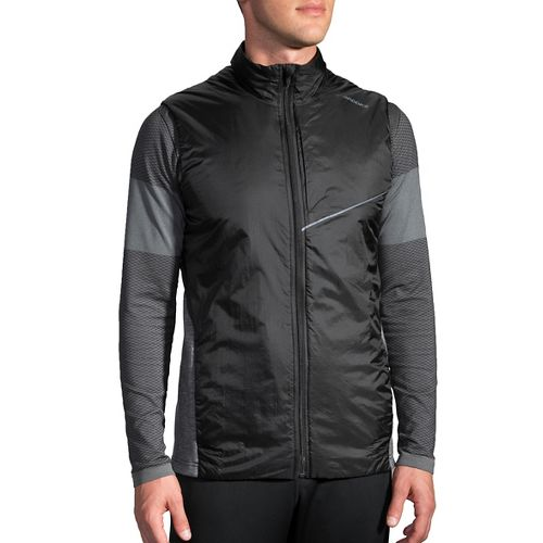 Mens Brooks LSD Thermal Vests Jackets - Black/Heather Black XXL