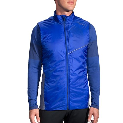 Mens Brooks LSD Thermal Vests Jackets - Basin/Heather Coast S