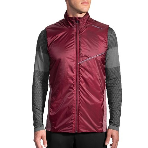 Mens Brooks LSD Thermal Vests Jackets - Root/Heather Root S