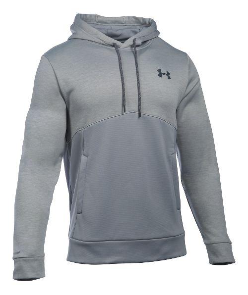Mens Under Armour Storm Armour Fleece Twist Half-Zips & Hoodies Technical Tops - Steel/Steel 3XL