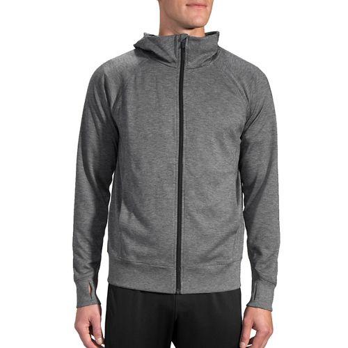 Mens Brooks Joyride Hoodie & Sweatshirts Technical Tops - Heather Black L