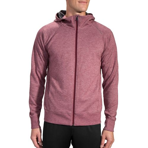 Mens Brooks Joyride Hoodie & Sweatshirts Technical Tops - Heather Root L