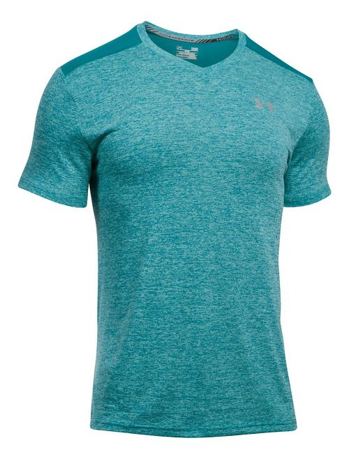 Mens Under Armour Streaker V-Neck Short Sleeve Technical Tops - Black S