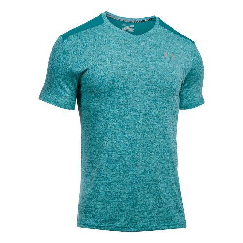 Mens Under Armour Streaker V-Neck Short Sleeve Technical Tops - Turquoise Sky L
