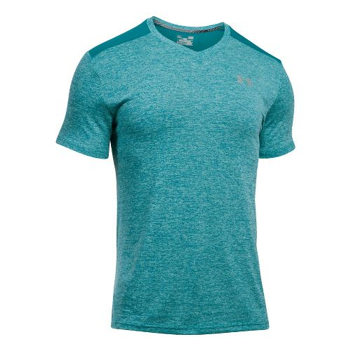 Mens Under Armour Streaker V-Neck Short Sleeve Technical Tops - True Grey Heather XXL