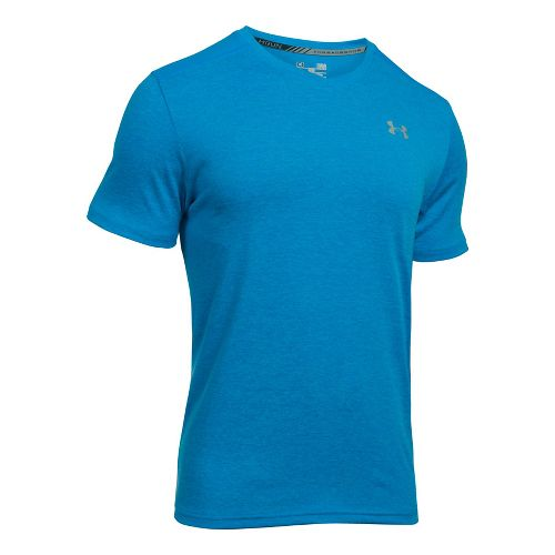 Mens Under Armour Streaker V-Neck Short Sleeve Technical Tops - Brilliant Blue M