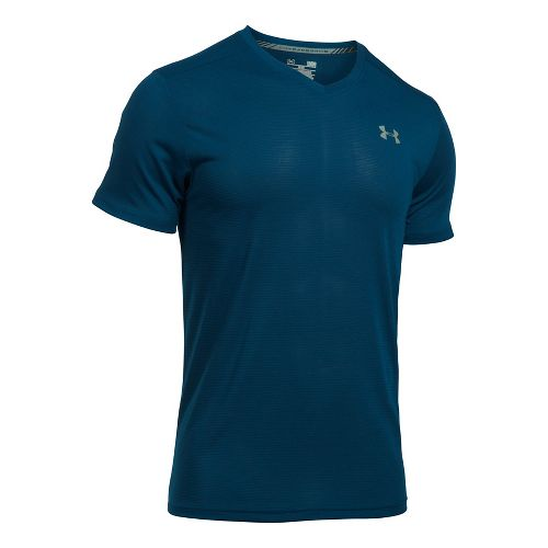 Mens Under Armour Streaker V-Neck Short Sleeve Technical Tops - Carbon Heather M