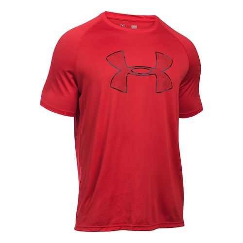 Mens Under Armour Tech Camo Big Logo T Short Sleeve Technical Tops - Red/Black XL ...
