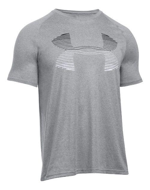 Mens Under Armour Tech Horizon Big Logo T Short Sleeve Technical Tops - Grey Heather/Black ...