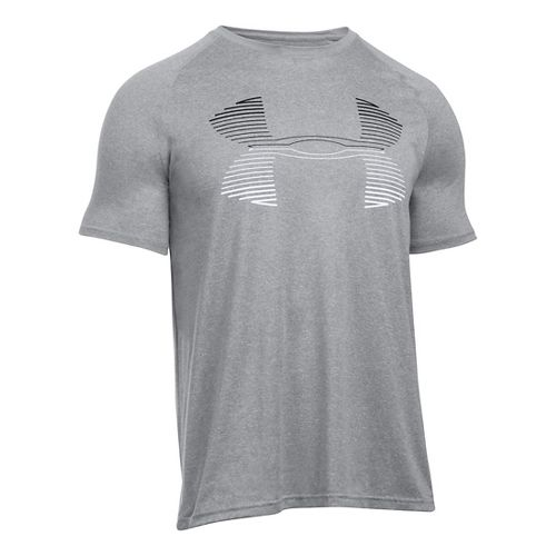 Mens Under Armour Tech Horizon Big Logo T Short Sleeve Technical Tops - Grey Heather/Black XXL