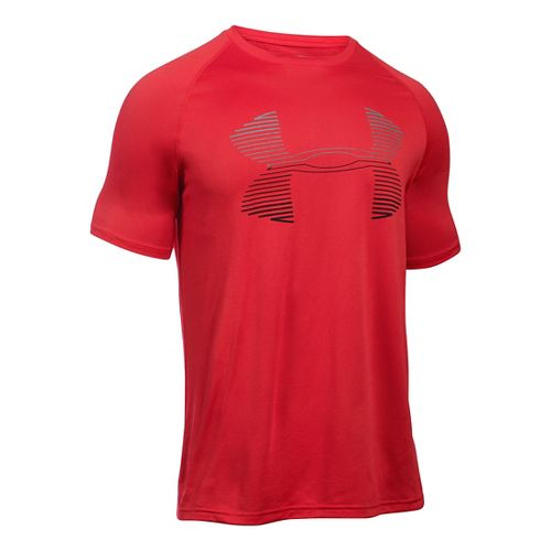 Mens Under Armour Tech Horizon Big Logo T Short Sleeve Technical Tops - Red/Steel L ...