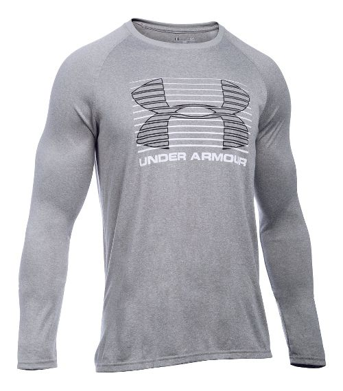 Mens Under Armour Tech Rise Up SportStyle T Long Sleeve Technical Tops - Grey Heather/White ...