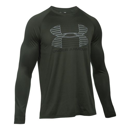 Mens Under Armour Tech Rise Up SportStyle T Long Sleeve Technical Tops - Army Green/Black ...