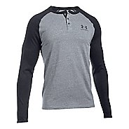 Mens Under Armour Triblend Colorblock Henley Long Sleeve Technical Tops