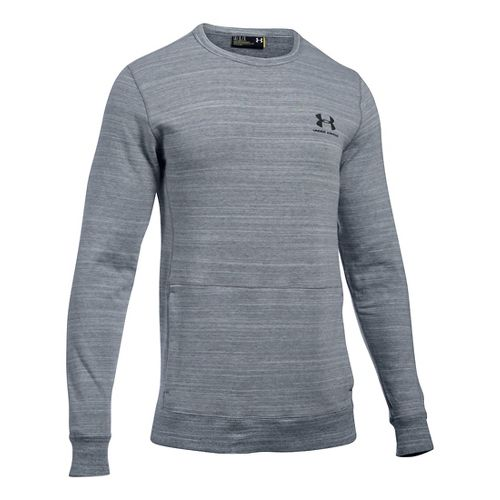 Mens Under Armour Triblend Crew Long Sleeve Technical Tops - Steel 3XLR
