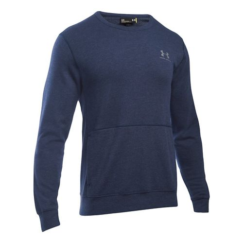 Mens Under Armour Triblend Crew Long Sleeve Technical Tops - Midnight Navy MR