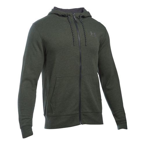 Mens Under Armour Triblend Full-Zip Hoodie & Sweatshirts Technical Tops - Artillery Green MR
