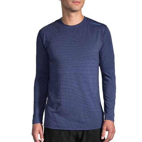 Mens Brooks Distance Long Sleeve Technical Tops - Heather Coast Forge XL